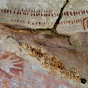 Rock art pantings known as the Gwion Gwion, or Bradshaw style, found in the remote northern reaches of the Kimberly region, Australia. The age and original creators of the paintings, whose images and figures differ dramatically from other Aboriginal Australian rock art in the area, are as of yet unidentified. Photo by Jen Klewitz