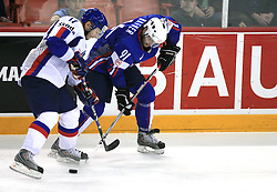 Lubomir Visnovsky of Slovakia and Tomo Hafner of Slovenia at ice-hockey game Slovenia vs Slovakia at Relegation  Round (group G) of IIHF WC 2008 in Halifax, on May 09, 2008 in Metro Center, Halifax, Nova Scotia, Canada. Slovakia won 5:1. (Photo by Vid Ponikvar / Sportal Images)