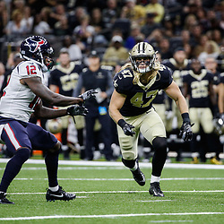 Aug 26, 2017; New Orleans, LA, USA; New Orleans Saints linebacker Alex Anzalone (47) defends a pass to Houston Texans wide receiver Bruce Ellington (12) during the first quarter of a preseason game at the Mercedes-Benz Superdome. Mandatory Credit: Derick E. Hingle-USA TODAY Sports