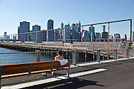 New York, lower manhattan cityscape view from Brooklyn bridge park pier 4. New York - United states