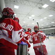 Dakota Woodworth, (right), Boston University, heads to the bench during the UConn Vs Boston University, Women's Ice Hockey game at Mark Edward Freitas Ice Forum, Storrs, Connecticut, USA. 5th December 2015. Photo Tim Clayton