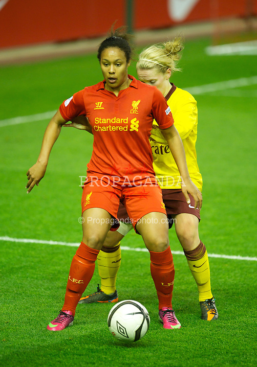 LIVERPOOL, ENGLAND - Friday, April 26, 2013: Liverpool's Lillie Billson in action against Arsenal during the FA Women's Cup Semi-Final match at Anfield. (Pic by David Rawcliffe/Propaganda)