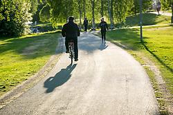 6 June 2016, Umea, Sweden: Shadow of biker.