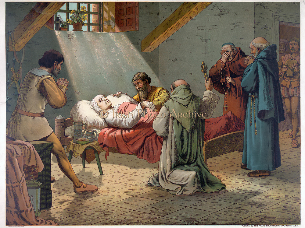 Christopher Columbus (c1451-1506) Genoese navigator and explorer on his deathbed at Valladolid. Religion Christian Priest America. Chromolithograph 1893.