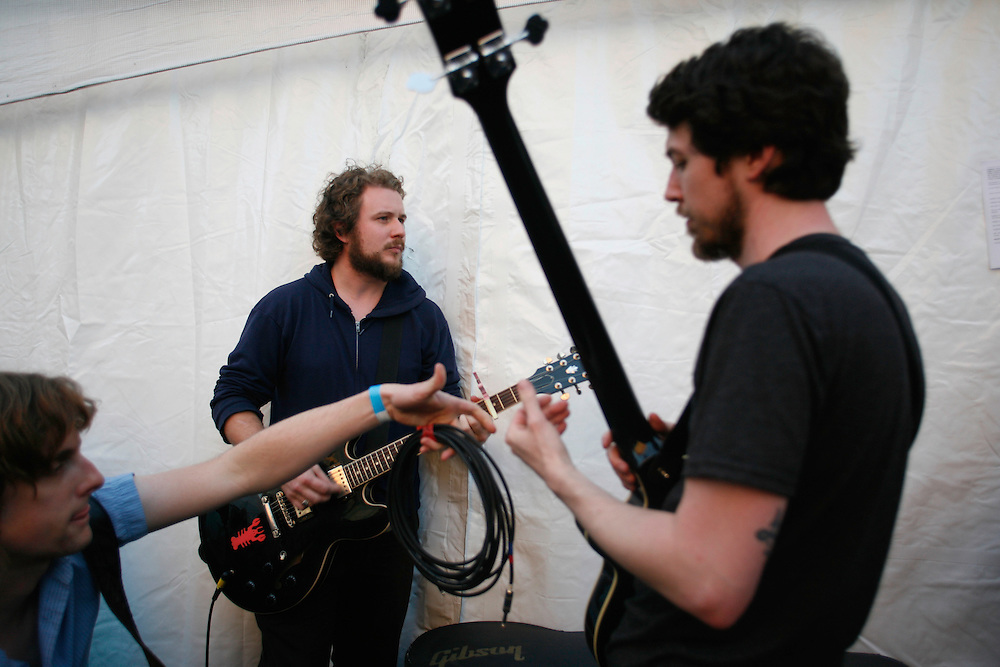 """My Morning Jacket members, from left, Carl Broemel, Jim James and """"Two Tone"""" Tommy backstage at the Levi/FADER Fort during the 2008 SXSW music festival in Austin, TX."""