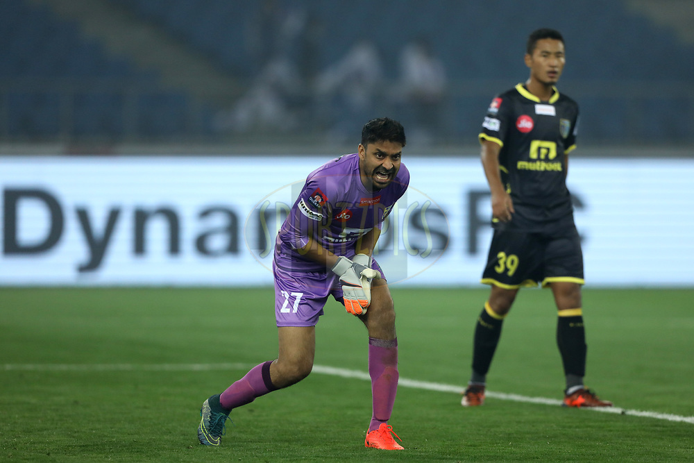Subhasish Roy Chowdhury of Kerala Blasters FC  react during match 43 of the Hero Indian Super League between Delhi Dynamos FC and Kerala Blasters FC  held at the Jawaharlal Nehru Stadium, Delhi, India on the 10th January 2018<br /> <br /> Photo by: Arjun Singh  / ISL / SPORTZPICS