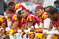17 October 2012: Wide receiver (2) Robert Woods of the USC Trojans looks at the scoreboard against the UCLA Bruins during the first half of UCLA's 38-28 victory over USC at the Rose Bowl in Pasadena, CA.