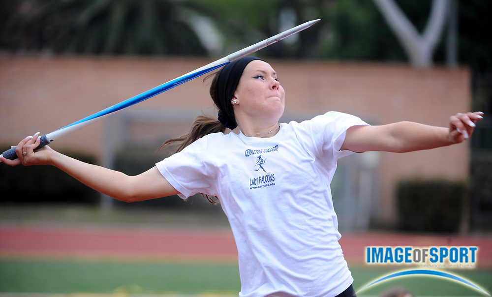 Mar 1, 2008; Los Angeles, CA, USA; Karen Guravska of Cerritos College was fourth in the women's javelin at 118-8 (36.16m) in the Trojan Relays at Cromwell Field.