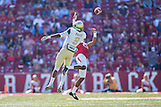 FAYETTEVILLE, AR - OCTOBER 25:  Josh Magee #9 of the UAB Blazers goes up for a pass while being defended by Jared Collins #29 of the Arkansas Razorbacks at Razorback Stadium on October 25, 2014 in Fayetteville, Arkansas.  The Razorbacks defeated the Blazers 45-17.  (Photo by Wesley Hitt/Getty Images) *** Local Caption *** Jared Collins; Josh Magee
