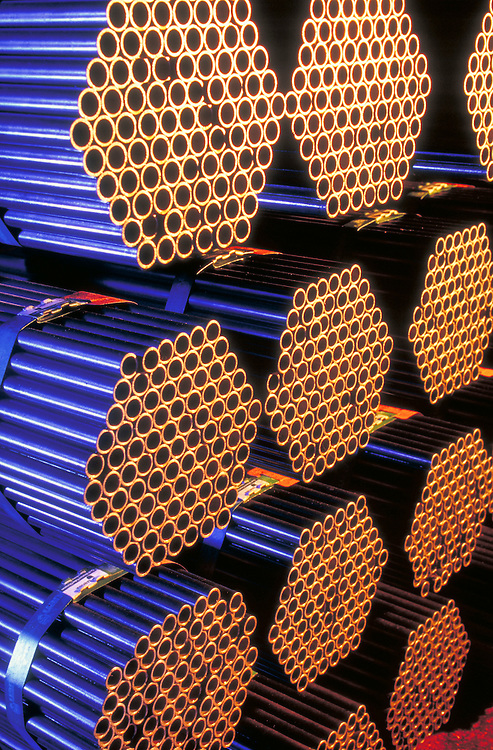 Steel tubes, stacked and ready for shipment, at the Gulf States Tube Group, of the Quanex Corporation, in Rosenberg, Texas.