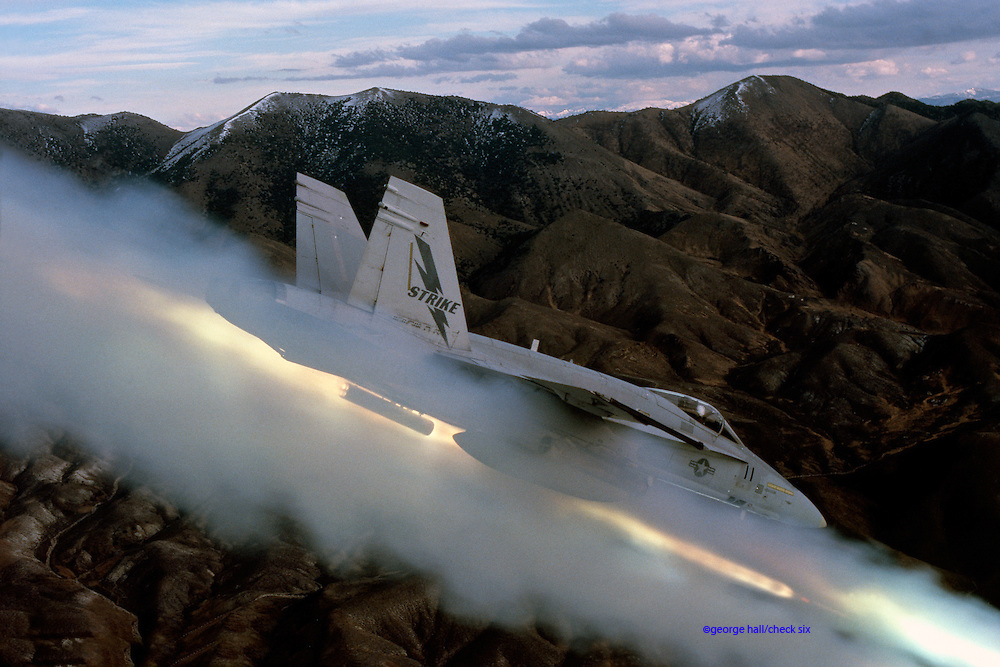 F/A-18A Hornet firing ZUNI rockets at Fallon NV