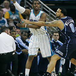 05 April 2009: New Orleans Hornets guard Chris Paul (3) passes the ball away from Utah Jazz guard Deron Williams (8) during a 108-94 loss by the New Orleans Hornets to the Utah Jazz at the New Orleans Arena in New Orleans, Louisiana.
