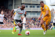 Fulham striker Sone Aluko (24) taking on Preston North End defender Tommy Spurr (17) during the EFL Sky Bet Championship match between Fulham and Preston North End at Craven Cottage, London, England on 4 March 2017. Photo by Matthew Redman.