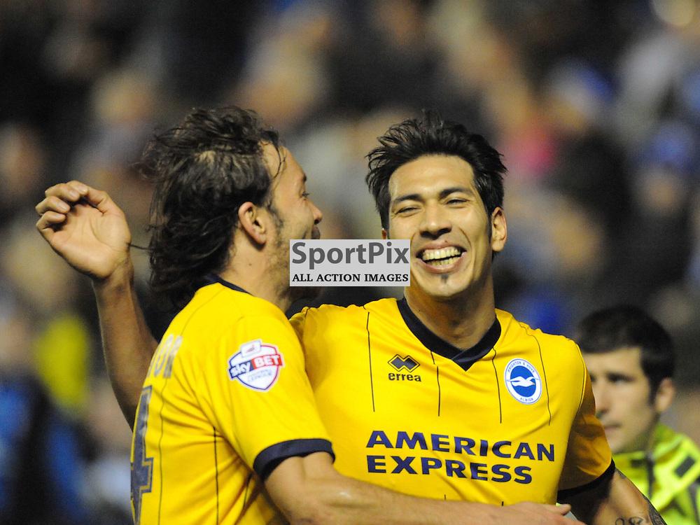 Brightons Leonardo Ulloa, Celebrates after scoring Brightons 4th Goal, Leicester City v Brighton Hove Albion Sky Bet Championship Tuesday 8th April  2014