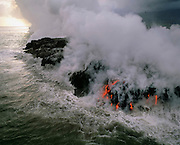 Lava Flowing into ocean, Kilauea Volcano, Island of Hawaii