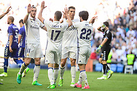 "Real Madrid's Gareth Bale, Lucas Vazquez, Cristiano Ronaldo and Francisco Roman ""Isco"" during La Liga match between Real Madrid and Deportivo Alaves at Stadium Santiago Bernabeu in Madrid, Spain. April 02, 2017. (ALTERPHOTOS/BorjaB.Hojas)"