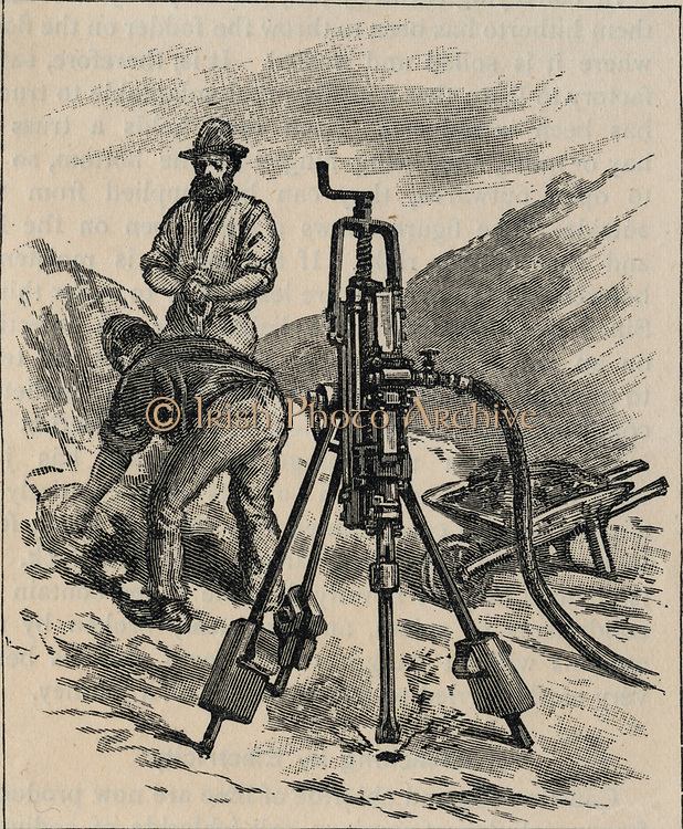 Rock drill driven by compressed air, c1890.