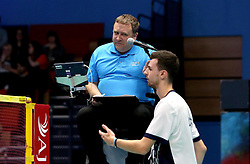 The umpire speaks to Chris Coles (Capt) of Bristol Jets after complaining about decisions - Photo mandatory by-line: Robbie Stephenson/JMP - 07/11/2016 - BADMINTON - University of Derby - Derby, England - Team Derby v Bristol Jets - AJ Bell National Badminton League