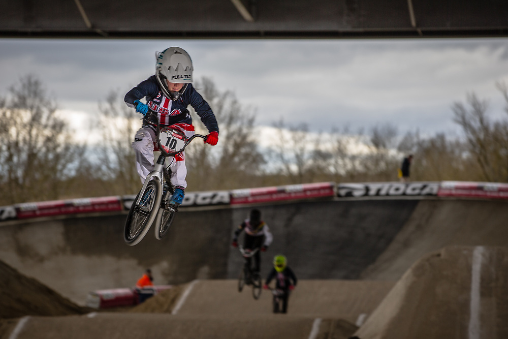 #10 (RENO Shealen) USA at the 2018 UCI BMX Superscross World Cup in Saint-Quentin-En-Yvelines, France.