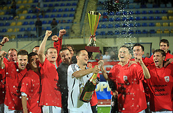 Ermin Rakovic, captain of Interblock with a champaign, at left club president Joc Pececnik, Suvad Grabus, Zoran Zeljkovic, Rok Elsner, right Erik Salkic,  at Slovenian Supercup between NK Domzale and NK Interblock, on July 9, 2008, in Domzale. Interblock won the mach and Supercup by 7 : 6 after penalty shots. (Photo by Vid Ponikvar / Sportal Images)