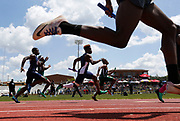 6A boys compete in the 4x100 relay during the 1A, 2A, 6A Section Track meet Saturday, April 28, 2018 at Paul Bryant High School. [Gary Cosby Jr./Staff Photo]