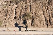 Tijuana, Mexico: Honduran refuge walk along the border with USA.