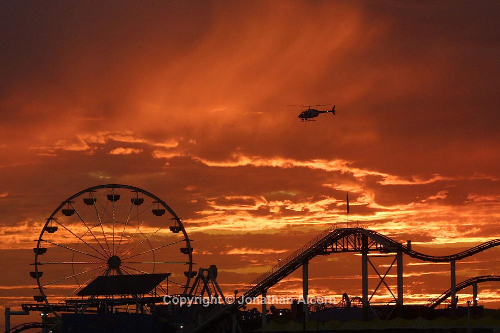 Santa Monica, CA, USA; a spectacular California sunset @The Santa Monica Pier.