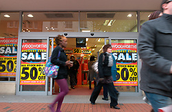 Woolworths closing down sale; Broad Street; Reading; Dec, 2008 UK