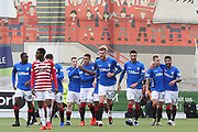 Rangers players celebrate Rangers forward Jermain Defoe (9) scoring to make it 0-2 during the Ladbrokes Scottish Premiership match between Hamilton Academical FC and Rangers at New Douglas Park, Hamilton, Scotland on 24 February 2019.