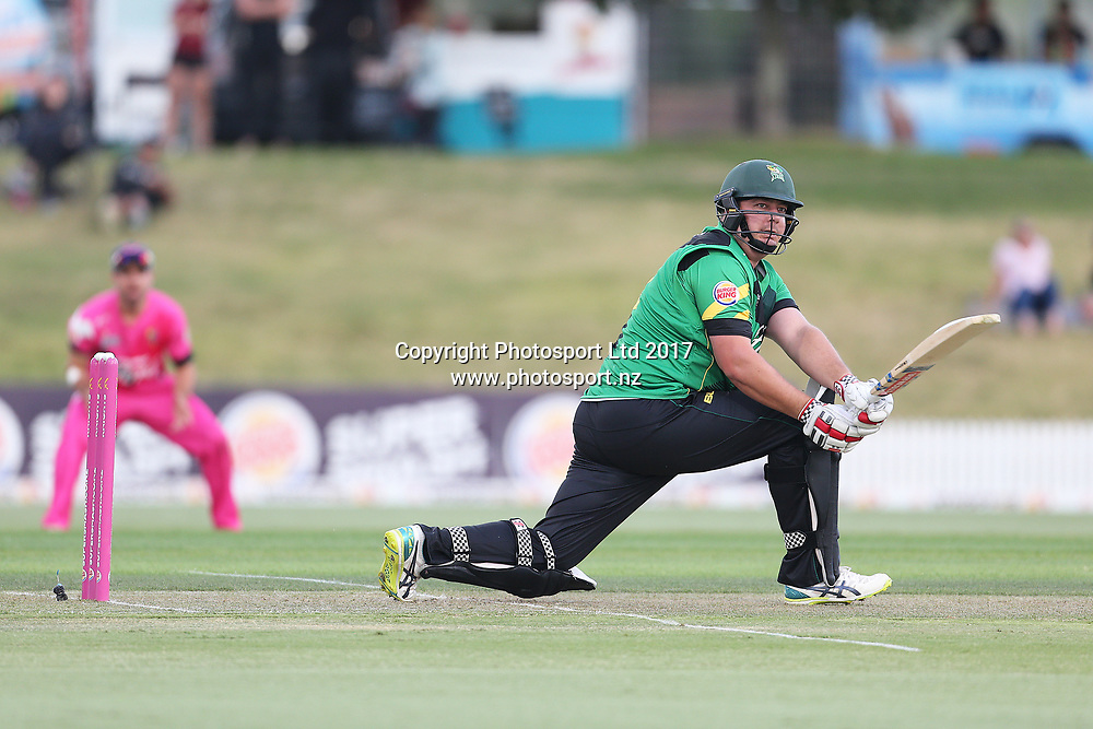 Stags Jesse Ryder batting during the Burger King Super Smash Twenty20 cricket match Knights v Stags played at Bay Oval, Mount Maunganui, New Zealand on Wednesday 27 December 2017.<br /> <br /> Copyright photo: © Bruce Lim / www.photosport.nz