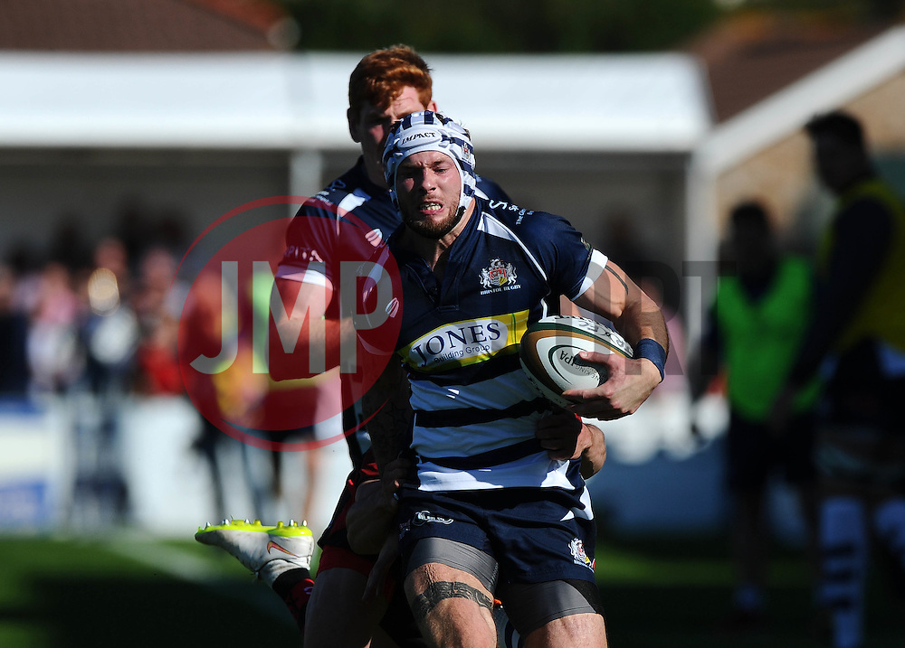Bristol Rugby Winger Ryan Edwards breaks away  - Mandatory byline: Joe Meredith/JMP - 07966386802 - 26/09/2015 - RUGBY - St. Peter -Saint Peter,Jersey - Jersey Rugby v Bristol Rugby - Greene King IPA Championship