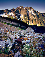 JOHANNESBURG MOUNTAIN FROM LATERAL MORAINE IN BOSTON BASIN, NORTH CASCADES NATIONAL PARK WASHINGTON