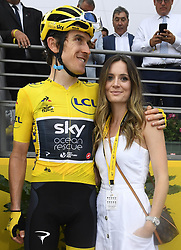 July 29, 2018 - Paris Champs-Elysees, France - PARIS CHAMPS-ELYSEES, FRANCE - JULY 29 : THOMAS Geraint (GBR) of Team SKY with his wife during stage 21 of the 105th edition of the 2018 Tour de France cycling race, a stage of 116 kms between Houilles and Paris Champs-Elysees on July 29, 2018 in Paris Champs-Elysees, France, 29/07/18  (Credit Image: © Panoramic via ZUMA Press)