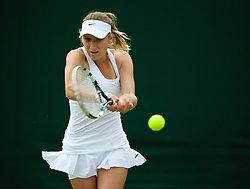 LONDON, ENGLAND - Monday, June 30, 2014: Marketa Vondrousova (CZE) during the Girls' Singles 1st Round match on day seven of the Wimbledon Lawn Tennis Championships at the All England Lawn Tennis and Croquet Club. (Pic by David Rawcliffe/Propaganda)