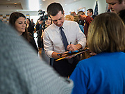 28 JANUARY 2020 - OSCEOLA, IOWA: PETE BUTTIGIEG talks to people on the rope line after speaking at a campaign event at the Clarke County Fairgrounds in Osceola, about 50 miles south of Des Moines. Buttigieg talked to a crowd of about 130 people in Osceola. Buttigieg, the former mayor of South Bend, Indiana, is running to be the Democratic nominee for President in the 2020 election. Iowa traditionally holds the first presidential selection event of the 2020 election cycle. The Iowa Caucuses are on Feb. 3, 2020.     PHOTO BY JACK KURTZ