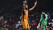 Ahmed Elmohamady begins celebrations with the fans after the Sky Bet Championship match between Brentford and Hull City at Griffin Park, London, England on 3 November 2015. Photo by Michael Hulf.