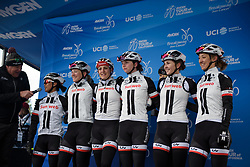 Team Sunweb sign on at Amgen Breakaway from Heart Disease Women's Race empowered with SRAM (Tour of California) - Stage 2. A 108km road race in South Lake Tahoe, USA on 12th May 2017.