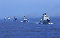 60099231  <br /> Chinese naval vessels attend the Joint Sea-2013 drill at Peter the Great Bay in Russia, July 10, 2013.  The Joint Sea-2013 drill participated by Chinese and Russian warships concluded here in Peter the Great Bay in Russia on Wednesday, July 10, 2013.<br /> Photo by imago / i-Images