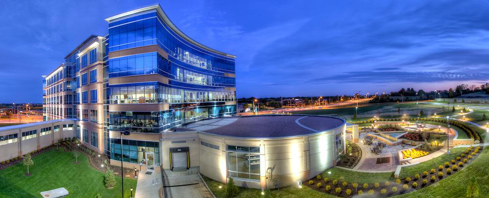 Panorama photo of the Teva Pharmaceuticals building in Leawood, Kansas, taken at dusk for Hoefer Wysocki Architects.