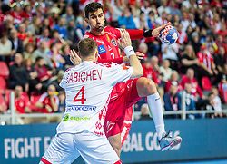 Janko Bozovic of Austria during handball match between National teams of Belarus and Austria on Day 1 in Preliminary Round of Men's EHF EURO 2018, on January 12, 2018 in Arena Zatika, Porec, Croatia. Photo by Ziga Zupan / Sportida