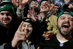 Fans celebrate the Philadelphia Eagles winning the Super Bowl LII, in the Mayfair section of Philadelphia, PA, USA, on 04 February 2018. The Eagles are facing the New England Patriots at U.S. Bank Stadium in Minneapolis, Minnesota, USA.