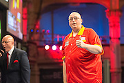 Andrew Gilding celebrates a 180 during the First Round of the BetVictor World Matchplay Darts at the Empress Ballroom, Blackpool, United Kingdom on 19 July 2015. Photo by Shane Healey.