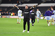 Derby County Manager Frank Lampard  celebrates a 0-4 win with the fans at the end of the second round of the Carabao EFL Cup match between Hull City and Derby County at the KCOM Stadium, Kingston upon Hull, England on 28 August 2018. Photo by Ian Lyall.