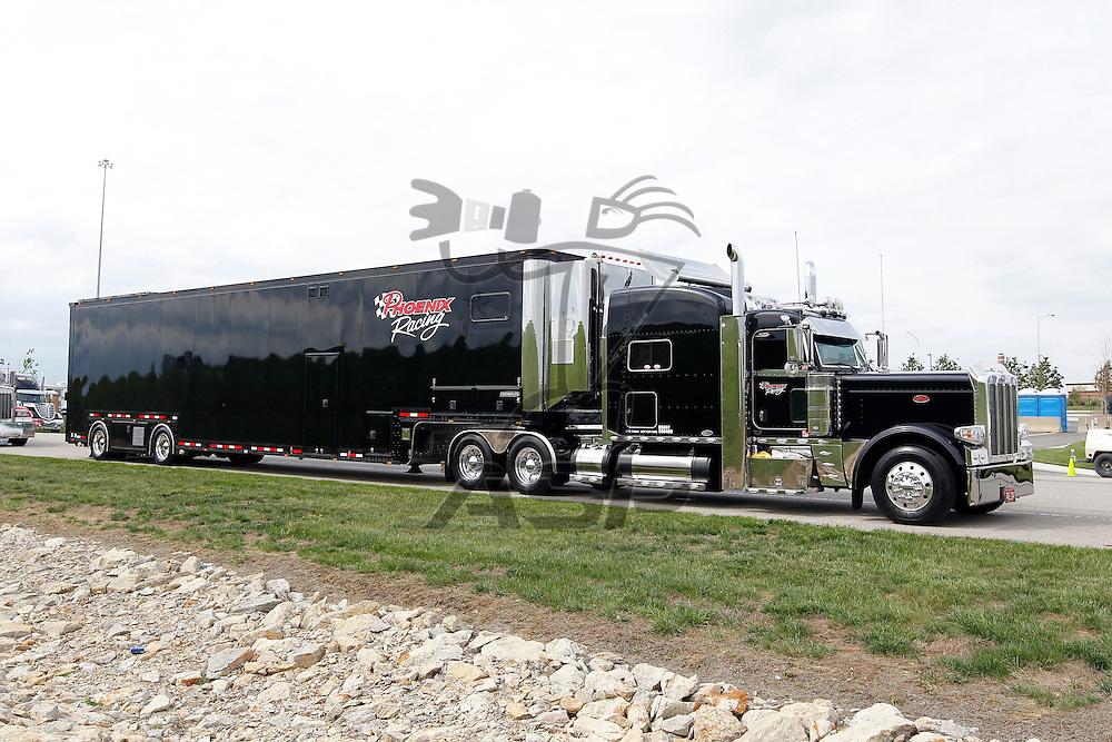 KANSAS CITY, KS - APR 19, 2012:  The Phoenix Racing hauler waits to park  for the STP 400 at the Kansas Speedway in Kansas City, KS.