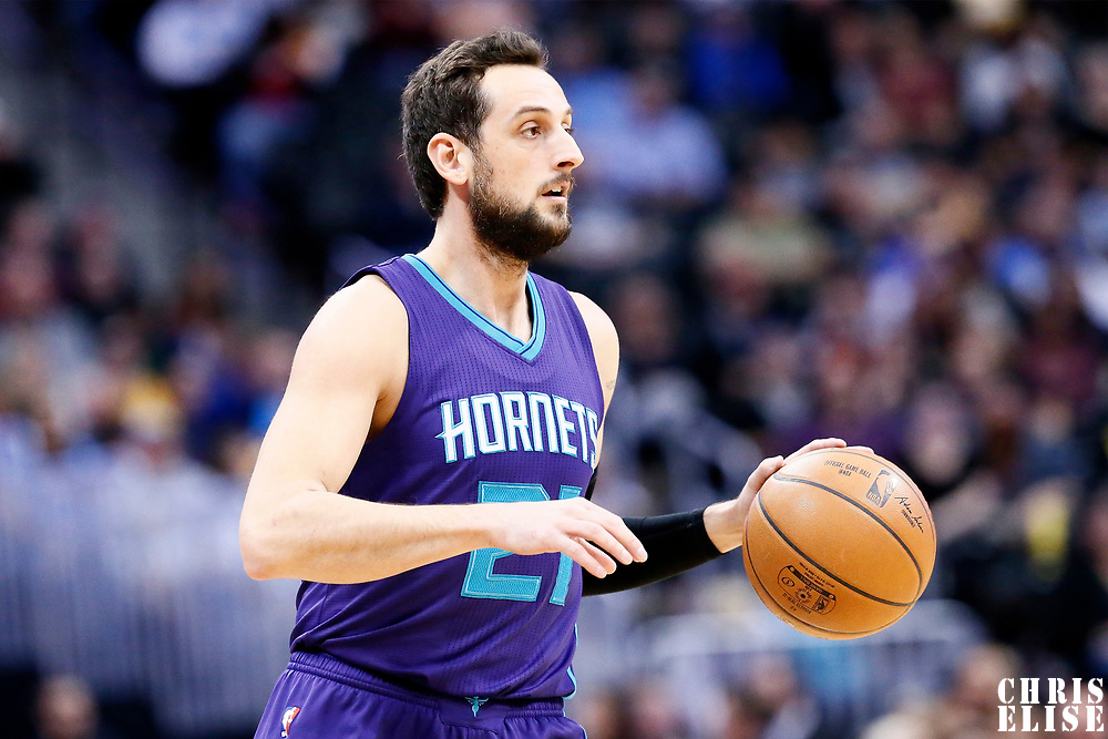 04 March 2017: Charlotte Hornets guard Marco Belinelli (21) brings the ball up court during the Charlotte Hornets 112-102 victory over the Denver Nuggets, at the Pepsi Center, Denver, Colorado, USA.
