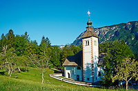 Slovenie, region de Gorenjska, Bohinj, parc national du Triglav, lac de Bohinj et eglise Sveti Duh // Slovenia, Gorenjska region, Triglav National Park, Bohinj lake and Sveti Duh church