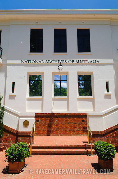 The building of the National Archives of Australia in Parkes, Canberra, Australia. It is the repository of official government documents.