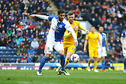 Danny Graham and Paul Gallagher battle during the Sky Bet Championship match between Blackburn Rovers and Preston North End at Ewood Park, Blackburn, England on 2 April 2016. Photo by Pete Burns.