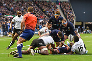 Loose ball on the try line during the 2018 Autumn Test match between Scotland and Fiji at Murrayfield, Edinburgh, Scotland on 10 November 2018.