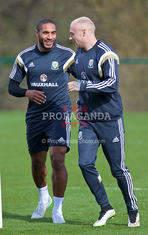 CARDIFF, WALES - Tuesday, March 24, 2015: Wales' captain Ashley Williams and David Cotterill during a training session at the Vale of Glamorgan ahead of the UEFA Euro 2016 qualifying Group B match against Israel. (Pic by David Rawcliffe/Propaganda)